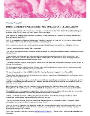 Press Release – GNO 2014 – Prime Minister's Press Secretary To Lead GNO Celebrations